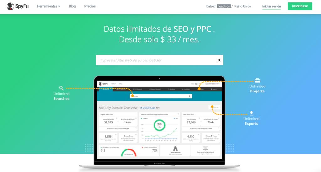 Spyfu página principal herramienta para SEO