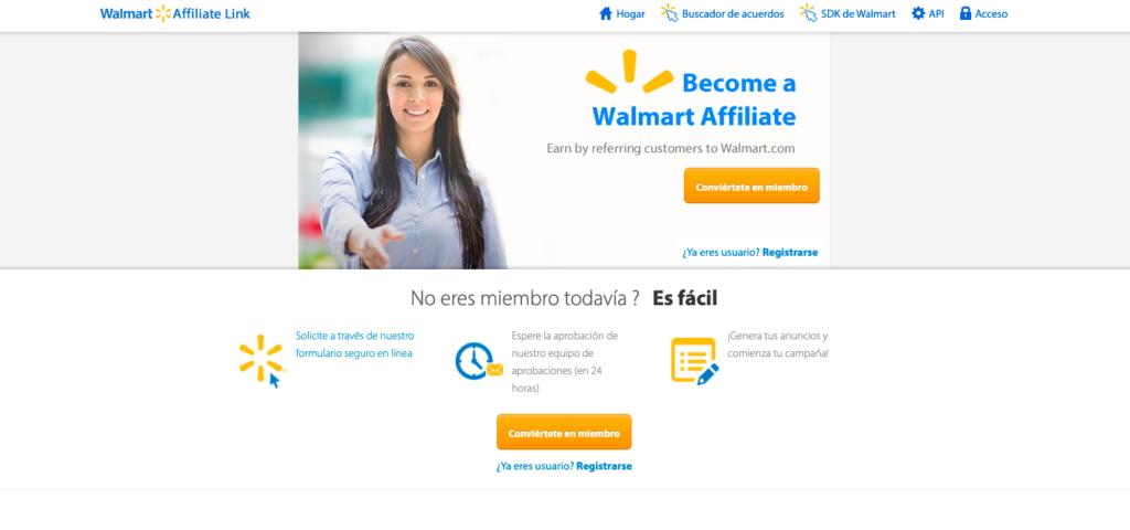 Walmart página principal de la red de afiliados