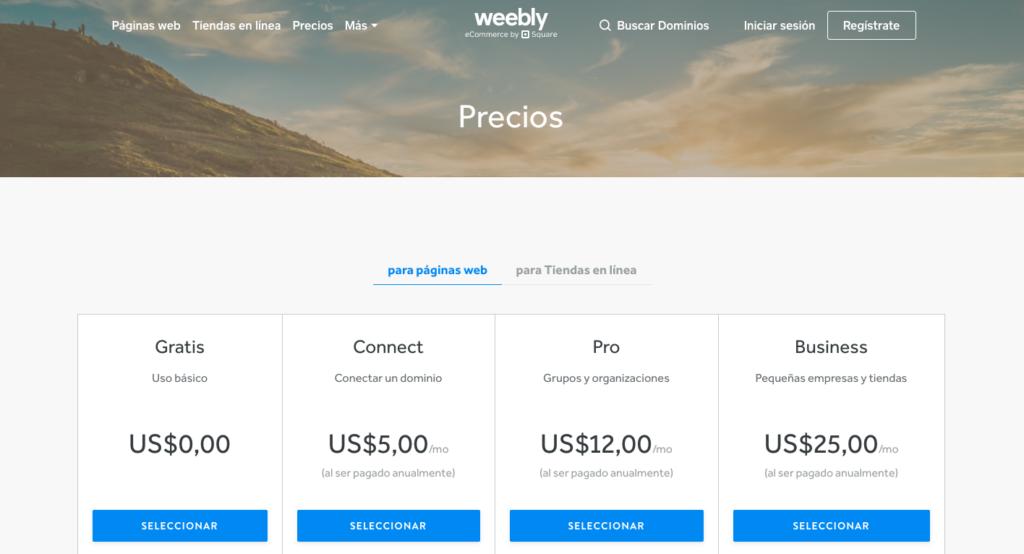 Weebly planes y precios