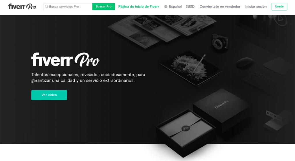 Fiverr Pro página principal