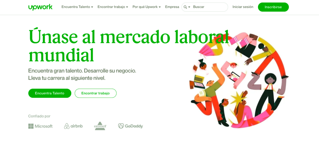 Upwork Freelance página principal