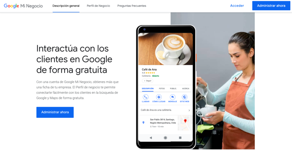 Google mi negocio página principal